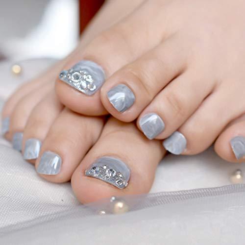 QSDFG Toenail Art Matte zwarte nep nagels voor tenen met strass stijl 3D teen nagels met lijm Sticker