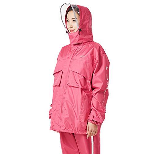 LXLTLB Regenmantel Regenhosenanzug, Männer Frauen Split wasserdichte Gummi-Doppelschicht-Verbund Reiten Take-Out Regenmantel Anzug,D,M