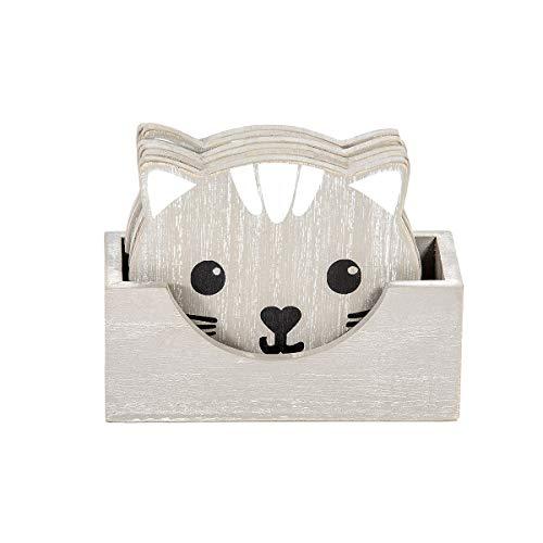 Untersetzer 6er Set Holz für Tassen Becher Gläser, Katze Deko Katzen Accessoires und Geschenk für Katzenliebhaber Katzenbesitzer (Grau)