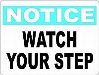 耐久性のある錆びないビジネスサインインチ、注意あなたのステップが怪我を防ぐのを見てください駐車警告-屋外の事前に掘削された安全金属サインのための危険サイン金属