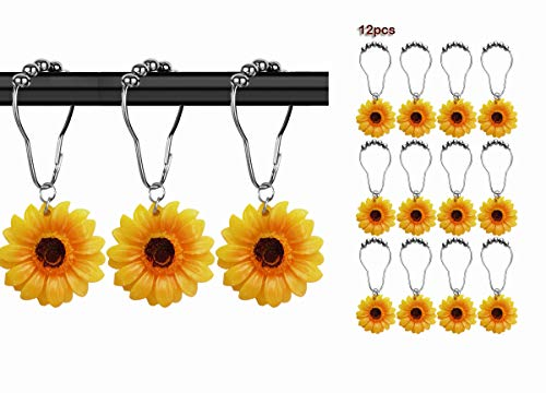 Yuiviot Shower Curtain Hooks Rings【12Pack】,Yellow Sunflower Decorative Resin Pendant,Silver Rust Proof Stainless Steel Hooks for Bathroom Rod,Anti-Corrosion Hanger,Nickle Brushed Heavy Duty Roller