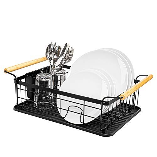 WELDO Abtropfgestell in schwarz mit hochwertigen Bambusgriffen für höchsten Komfort inkl. Abtropfschale & Besteckkorb – geeignet für Küche, Besteck, Teller, Geschirr – 40x30x13cm