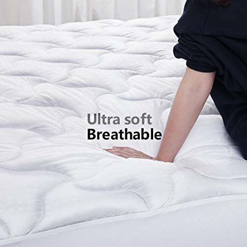 Abakan Mattress Pad California King Size Cooling Mattress Cover 100% Cotton Quilted Mattress Topper White Bed Topper Down Alternative Filling (8-21
