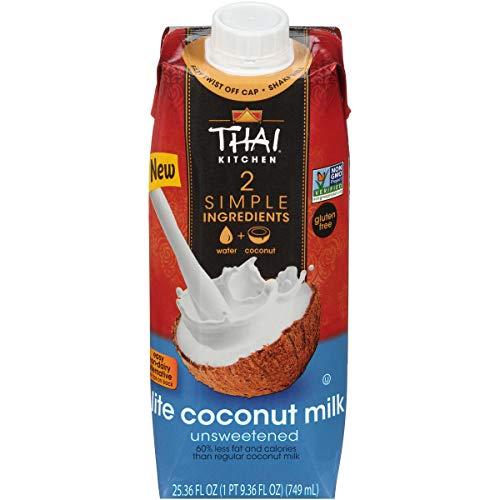 Thai Kitchen Lite Coconut Milk (Resealable, Dairy Free, Simple Ingredients, Unsweetened), 25 fl oz (Pack of 6)