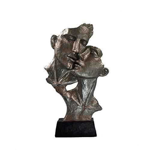 formano Deko Figur, Moderne Büste, Skulptur Geborgenheit Silber mit schwarzem Sockel 40 cm