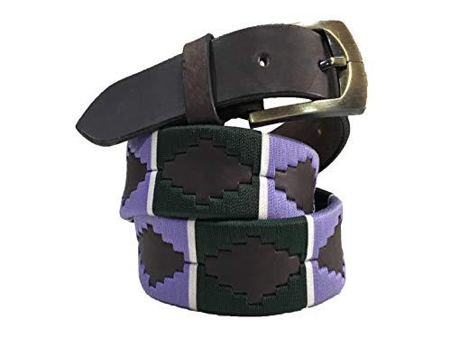 Carlos Diaz Cinturón de Polo Argentino de Cuero marrón Bordado para Hombres y Mujeres Unisex (100 cm/ 40-42 Inches)