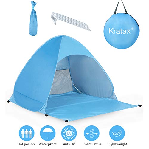 Kratax Tente Plage Pop UP Plage de Parasol Protection UV pour 3-4 Personnes Ouverture...