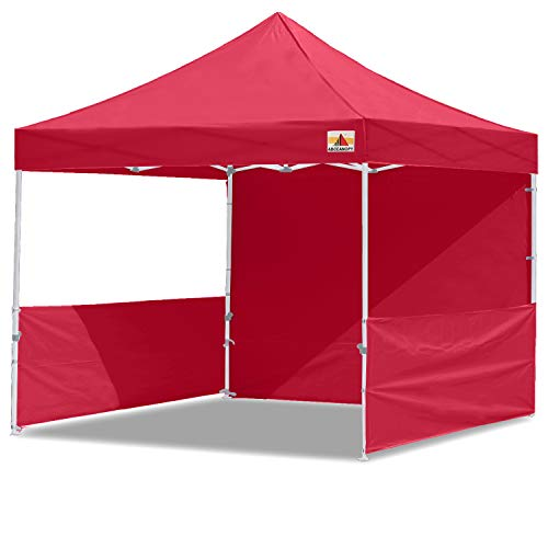 ABCCANOPY 10x10 Pop-up Canopy Easy Pop Up Canopy Tent 10x10 Commercial Tents with Sidewalls Bouns Roller Bag Bonus 2pcs Half Wall (Burgundy)