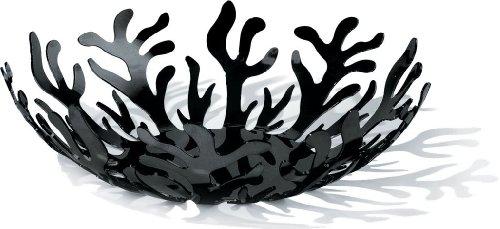 Alessi ESI01/29 Mediterraneo fruithouder van roestvrij staal, epoxyharsgelakt, zwart, Ø 29 cm