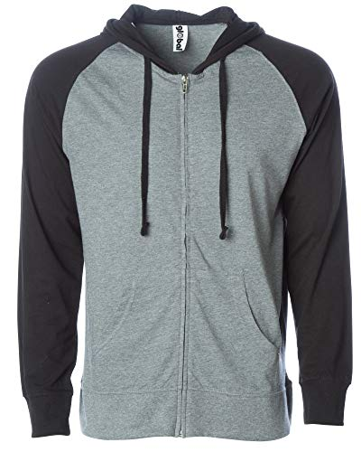 Lightweight T-Shirt Material Zip Up Hoodie with Pockets Gunmental/Black Med