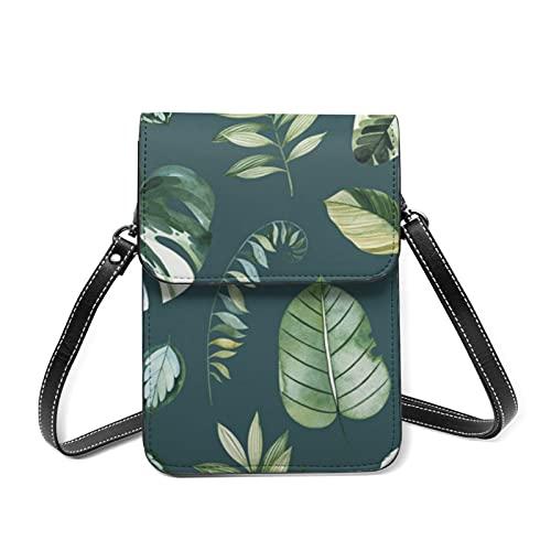 Lindo teléfono celular bolsa de mujer Crossbody cartera conjunto verde hojas tropicales verde bolsa de viaje con titular de la tarjeta, Set Green Tropical Leaves Green, Talla única