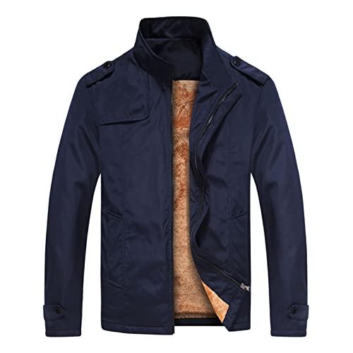 FOReverweihuajz Tinta unita Due Tasche Uomo Cappotto Caldo Peluche Fodera Stand Collare Giacca per Autunno Inverno, Blu scuro, XXXL