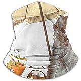 Linger In Calentador de Cuello Mono Sentado en la Playa Debajo de la Playa Bufanda, Cuello Polaina, Gorra de Cuello Media máscara Pasamontañas Sombreros