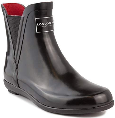 LONDON FOG Womens Piccadilly Rain Boot black shiny 10 M US