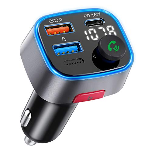 2021 Upgraded V5.0 Bluetooth FM Transmitter for Car, QC3.0&PD Quick Charger Bluetooth Car Adapter, Bass Sound Music MP3 Player with LED Backlit, Hands-Free Calls, Siri Google Assistant