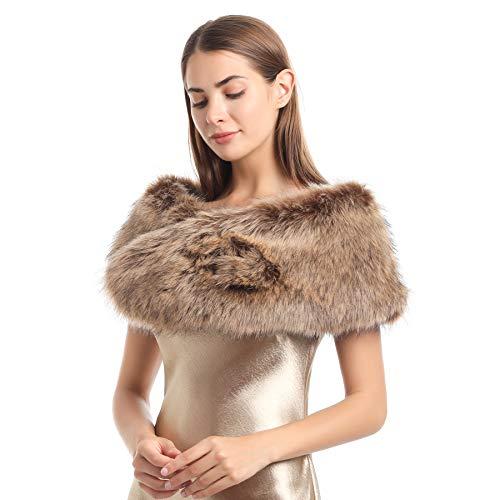Soul Young para bufandas De piel de zorro falso de Mujeres de invierno(120cm,Mapache)