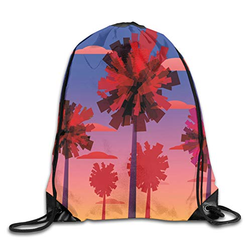 Drawstring Gym Bag Backpack,Contemporary Style Tropical Trees Clouds And Sunset Ombre Effect Exotic Skyscape,Rucksack for School Sports Travel Women Children Birthday Present