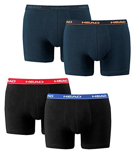HEAD Herren Boxershorts 841001001 4er Pack, Wäschegröße:L, Artikel:2er Rot/Blau/Schwarz (505) / 2er Peacoat/Orange