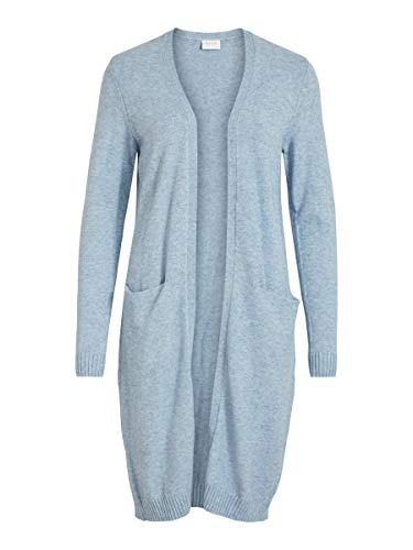 Vila Clothes Damen VIRIL L/S Long Knit Cardigan-NOOS Strickjacke, Ashley Blue, Detail:Melange, L