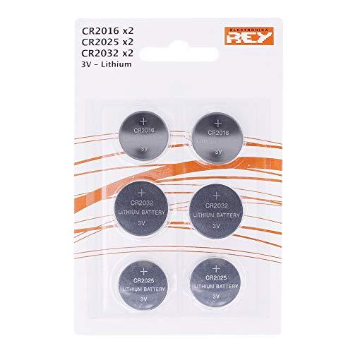 Pack de 6 Pilas Litio, 2X CR2016 3V, 2X CR2025 3V, 2X CR2032 3V Tipo Botón Alcalinas en Blister