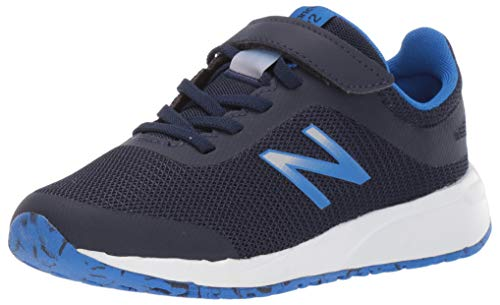 New Balance Boys' 455v2 Hook and Loop Running Shoe, Navy/Vivid Cobalt, 1.5 M US Little Kid