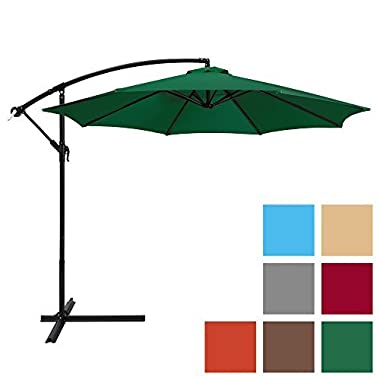 Best Choice Products 10ft Offset Hanging Outdoor Market Patio Umbrella - Green