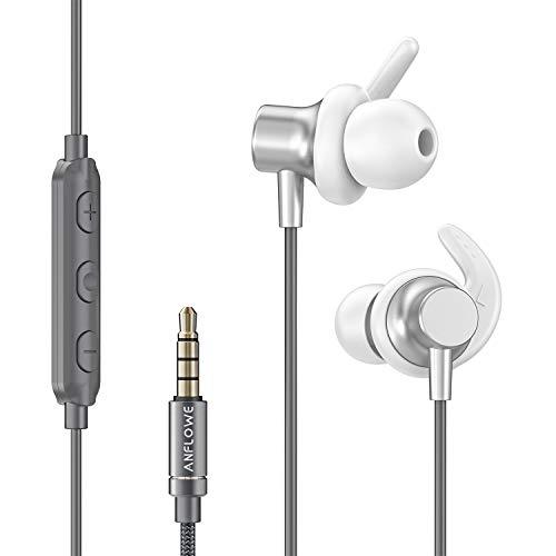 Anflowe ES900 Sport In-Ear Kopfhörer mit Mikrofon, Kraftvoller Sound, Stabile und Bequem, Schweißresistente, Sport-Kopfhörer Ohrhörer mit Kabel für Joggen, Laufen, Fitnessstudio, Arbeit - Silber