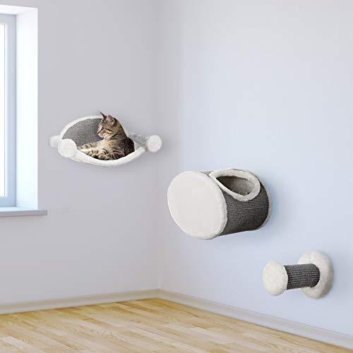 """VOSS.PET Kletterlandschaft """"cat Fun"""" Kletterwand für Katzen Hängematte Kletterstufe Katzenhöhle Sisal Grau Weiß"""