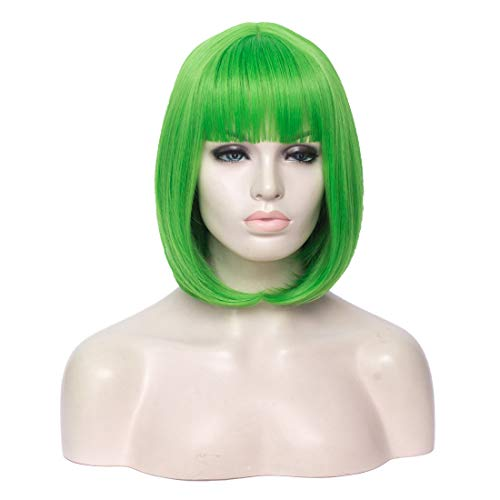 WGPFWIG Fashion 12'' Women's Wig Light Green Color Short Bob Women's Wig Short Straight Flat Bangs Wig For Halloween Party Cospaly Wig Cap Inclued (Light Green)