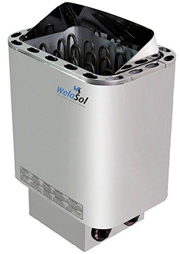 WelaSol® Saunaofen Nordex 8 kW mit integrierter Steuerung, Außenmantel Edelstahl, ohne Saunasteine für finnische Sauna