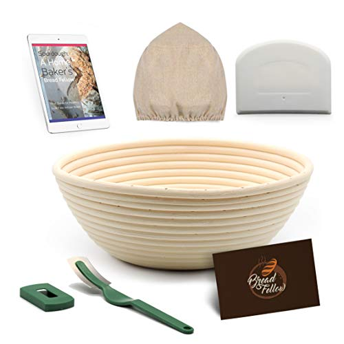 9 Inch Proofing Basket Round Banneton Bread Basket - Bread Making Tools - Proofing Baskets for Sourdough Bread   Bread Scraper Dough   Bread Lame   Cloth Liner - Bread Baking Set