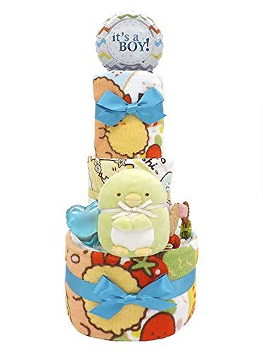 おむつケーキ すみっコぐらし ぬいぐるみ&タオルセット付き ペンギン? B 3段 ck-617b (パンパースSサイズ)