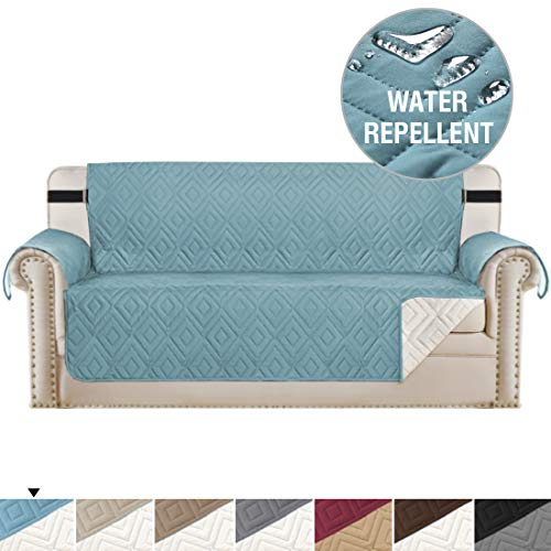 H.VERSAILTEX Reversible Sofa Slipcover Furniture Protector Water Resistant 2 Inch Wide Elastic Straps Sofa Cover Couch Covers Pets Kids Fit Sitting Width Up to 66' (Sofa, Stone Blue/Beige)