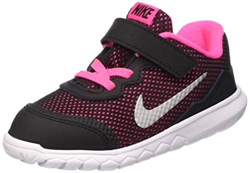 Nike Baby Mädchen Flex Experience 4 (TDV) Lauflernschuhe, Noir/Plateado/Rosa (Black/Metallic Silver-Pink Pow), 27 EU