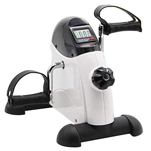 Hausse Portable Exercise Pedal Bike for Legs and Arms, Mini Exercise Peddler with LCD Display, White