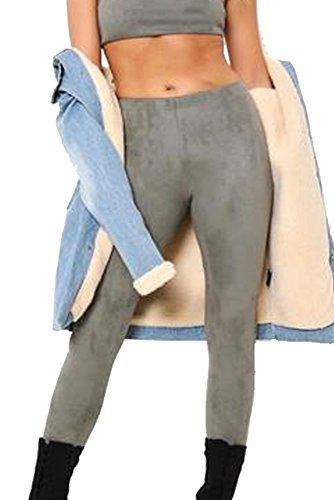 Re Tech UK - Damen Leggings in Wildlederoptik - eng - elastischer Bund - einfarbig - Khaki - 36