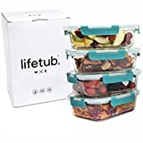 Lifetub - Set of 4 Large Reusable High Borosilicate Glass Containers with Locking