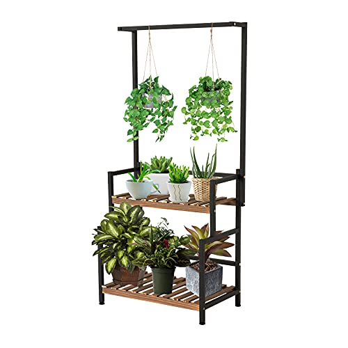 Indoor Hanging Plant Stand 2-Tier Plant Shelves with Bar Flower Pot Organizer, Planter Display Shelf Storage Holder Rack, Wood Plants Stands with Metal Frame for Garden Balcony Patio Bedroom Office