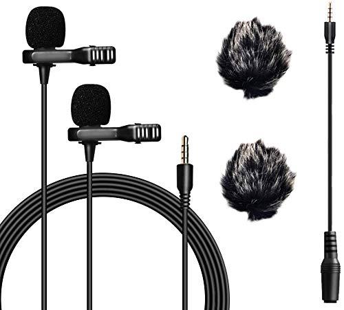Nicama LVM2 Dual Lavalier Mikrofon , 6M Dual-Kapsel Ansteck mikrofon mit 2 Fell Windschutz für iPhone iPad Smartphone PC DSLR Kamera Camcorder Tablet