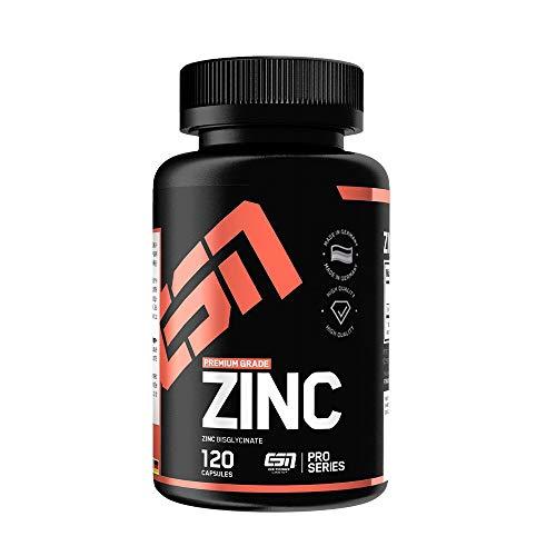 ESN Zinc – 120 Kapseln – Premium: Zink-Bisglycinat (Zink-Chelat) – 25 mg elementares Zink – Laborgeprüfte Qualität – Made in Germany