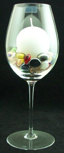 Windlicht met kaars en glasnuggets in gemengde kleuren