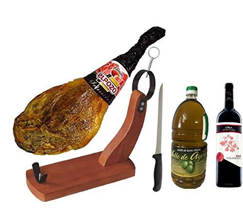 Lote Jamón El Pozo + Jamonero + Cuchillo +2L Aceite de Oliva Virgen+ Vino Tinto