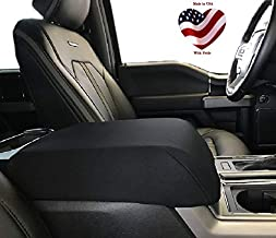 Car Console Covers Plus Custom for Ford F150 F250 F350 Trucks 2014-2019 Fleece Front Center Jump Seat Console Cover Made in USA-Dark Gray
