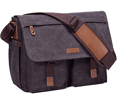 VASCHY Umhangetaschen Herren Vintage Wasserabweisend Gewachste Leinwand 14 Zoll Laptop Aktentasche Schultertasche Laptop Taschen mit Gepolstertem SchultergurtDunkelgrau