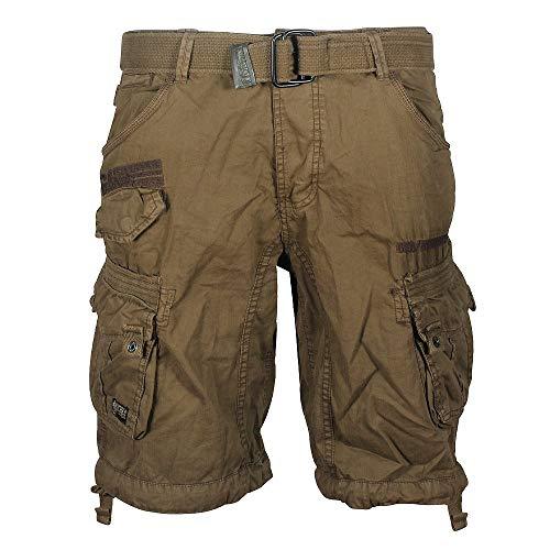 Geographical Norway Panoramic Men - Bermudas Short Algodón Fit - Pantalones Cortos Deportivos para Hombres - Bermudas Hombre - Shorts Cortos Cinturón - Bermuda Ajuste Normal Cómodo (Caqui XL)