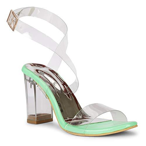 Cortica London Women Cassual Formals Transparent Block Heel Sandals with Transparent Upper Neon Green