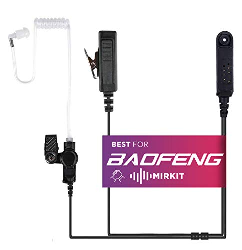 Mirkit Headset Covert Acoustic Tube Radio Earpiece with Mic for Two Way Radios with Reinforced Cable, Compatible with: Baofeng UV-9R Plus, BF-9700, A-58, UV-XR, UV-5S, GT 3WP