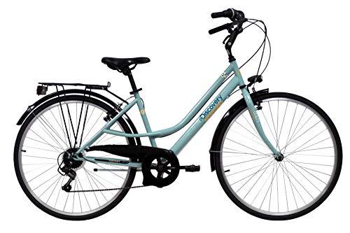 Discovery 28 Acciaio Donna, Bici Trekking Manhattan 28'' Cambio Shimano 6 velocità Colore verdino K500