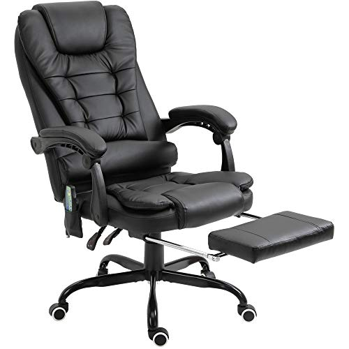 Vinsetto High Back Vibrating Massage Office Chair with 7-Point Vibration Heating Function Reclining Back and Adjustable Height with Lumbar Support Headrest Footrest Black