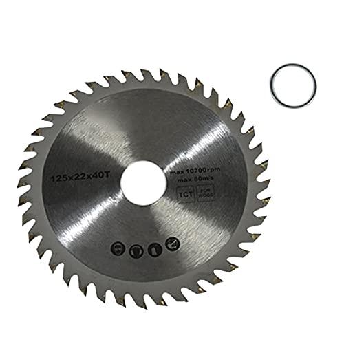 Hoja de sierra circular de metal duro para madera 40Z 125 x 22 mm + 1 anillo reductor amoladora angular universal
